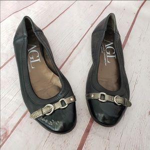 AGL Black Leather & Patent Flats. Size 8.5M